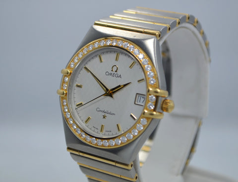 Omega Constellation Two Tone Diamond Bezel Steel 18K Gold Quartz Ladies Watch