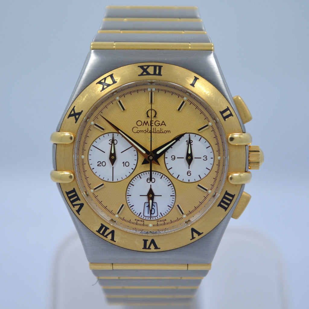 Omega Constellation Two Tone Chronograph Steel 18K Gold Full Bar Quartz Watch - Hashtag Watch Company