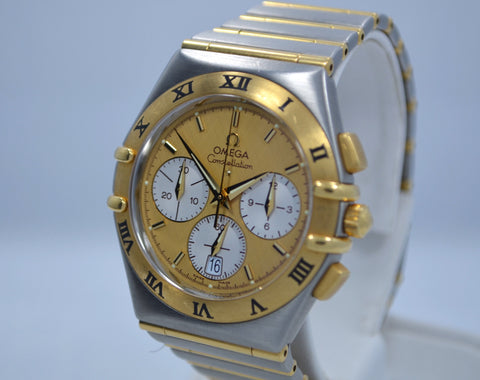 Omega Constellation Two Tone Chronograph Steel 18K Gold Full Bar Quartz Watch