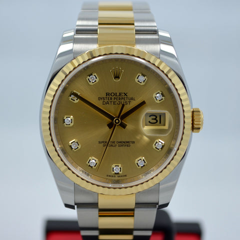 Rolex Datejust 116233 Champagne Diamond Oyster Two Tone Steel Gold Watch 2015