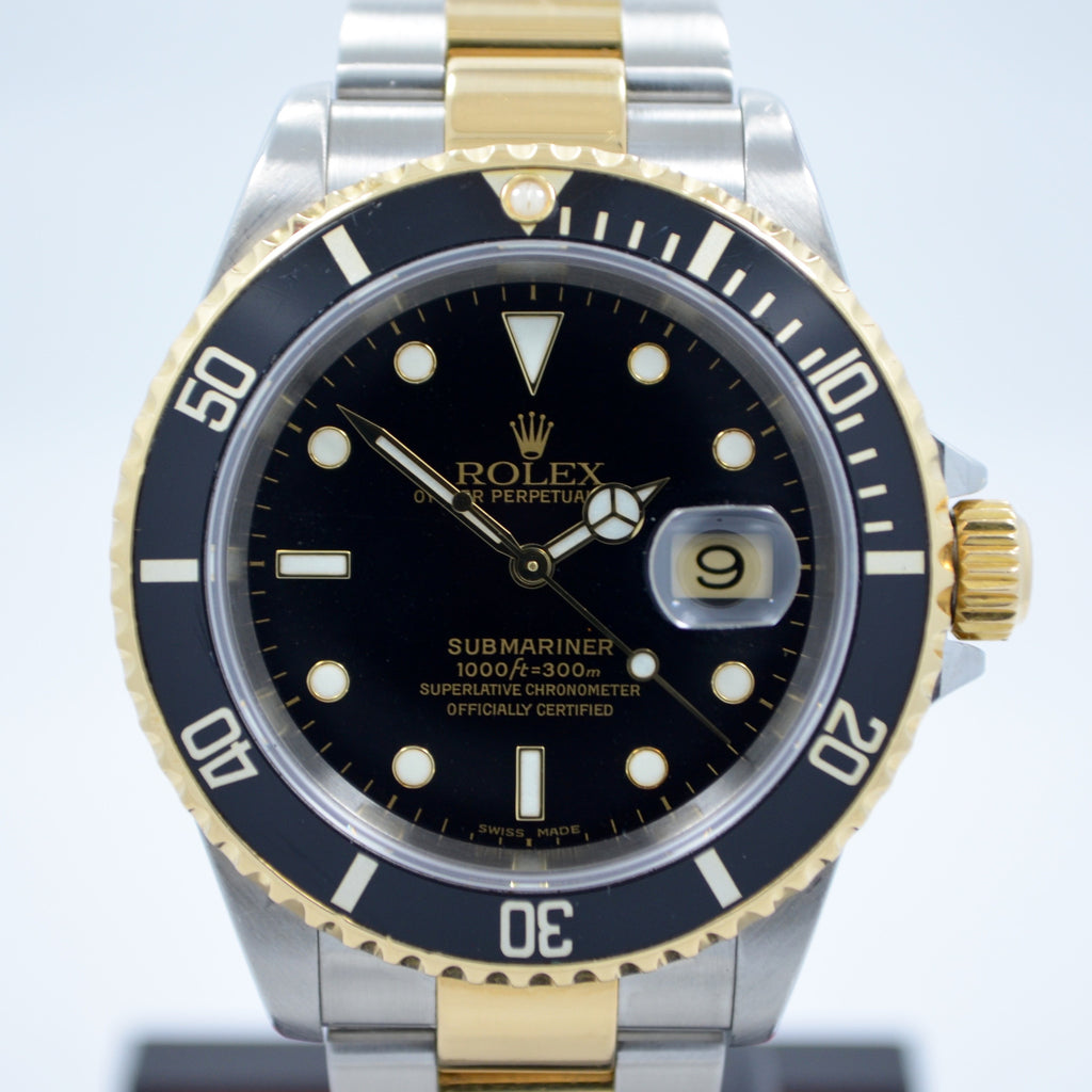 "Rolex Submariner 16613 Black Steel Gold Two Tone ""K"" Serial Wristwatch"