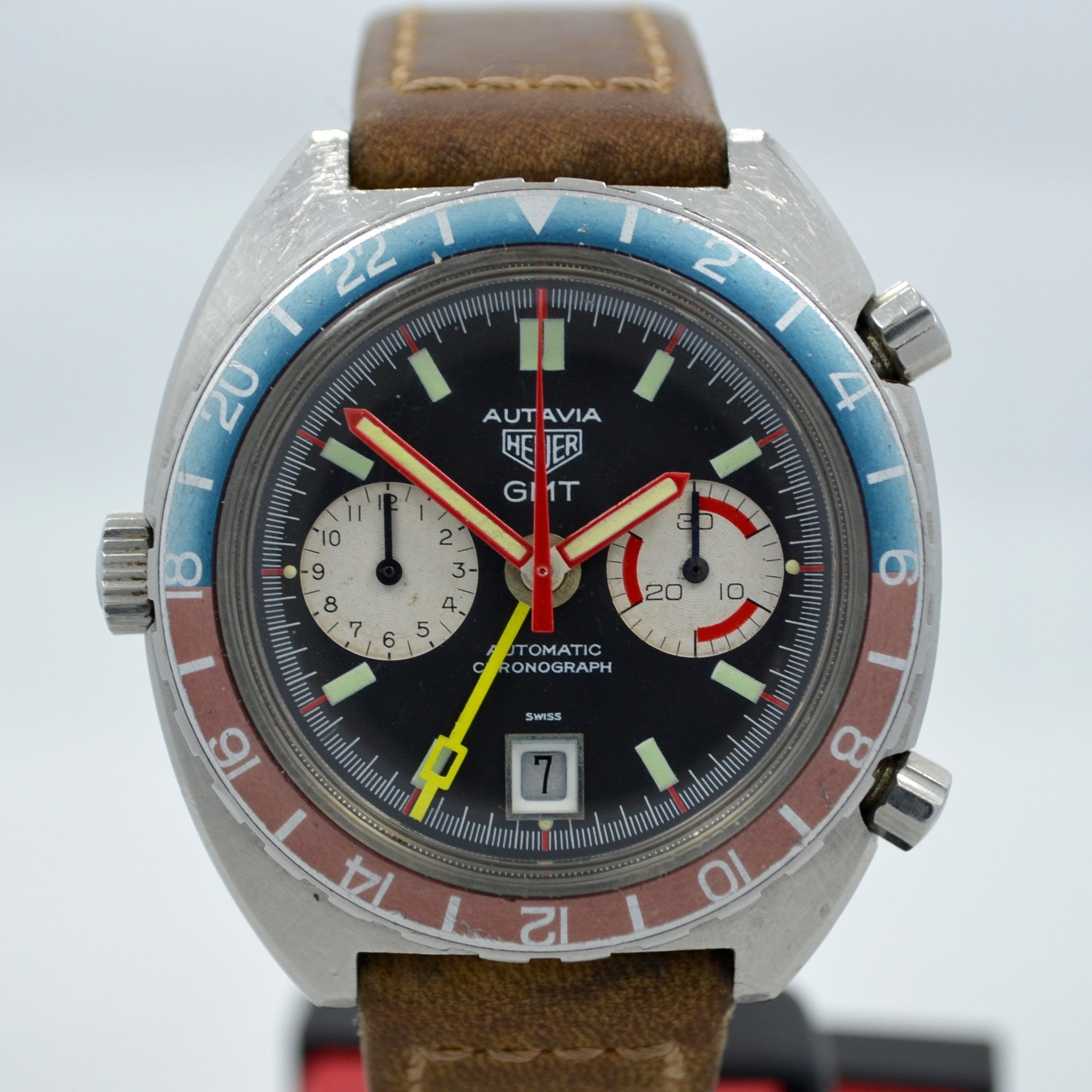 Vintage Heuer Autavia GMT 1163 Cal. 14 Automatic Steel Chronograph Wristwatch - Hashtag Watch Company