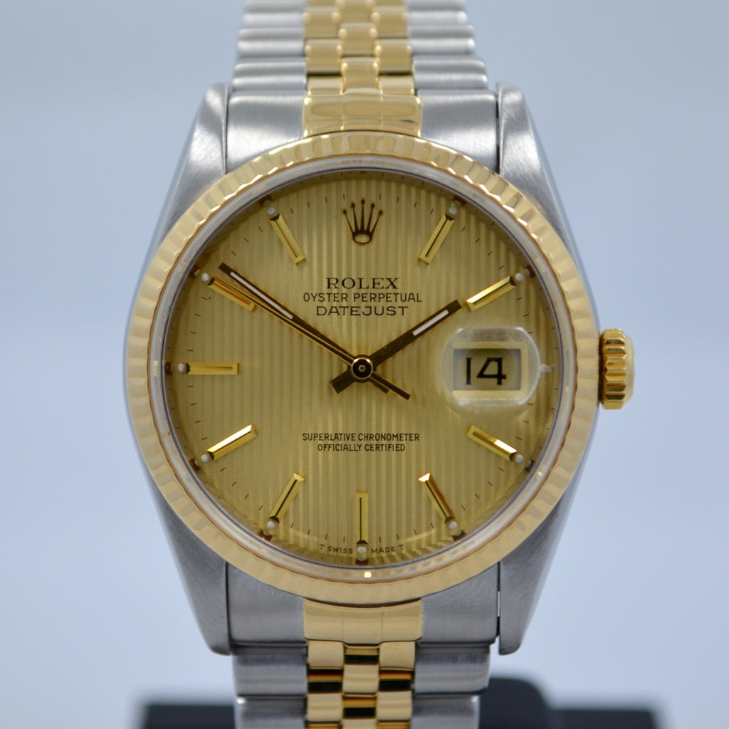 "Rolex Datejust 16233 Tapestry Champagne Jubilee Two Tone Steel Gold ""E"" Watch"