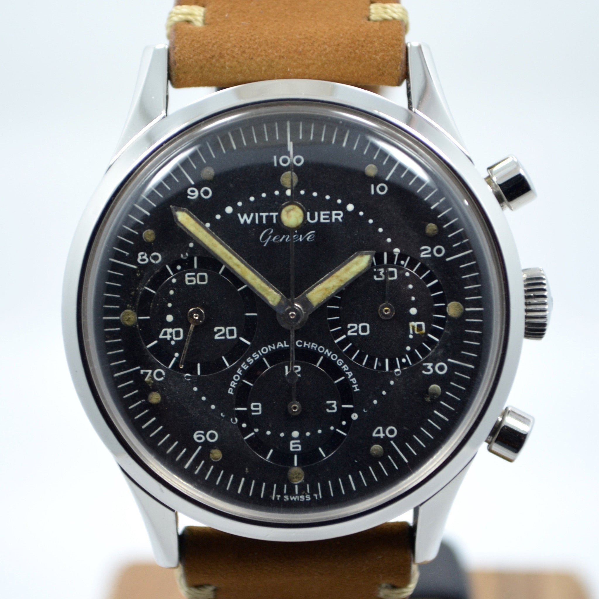 Vintage Wittnauer Professional Chronograph Steel Valjoux 72 Manual Wristwatch