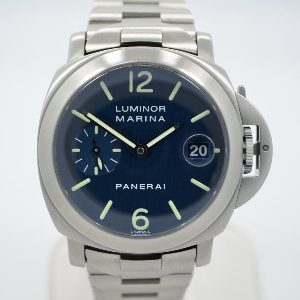Panerai Luminor Marina PAM 120 Blue Steel Automatic Wristwatch - Hashtag Watch Company