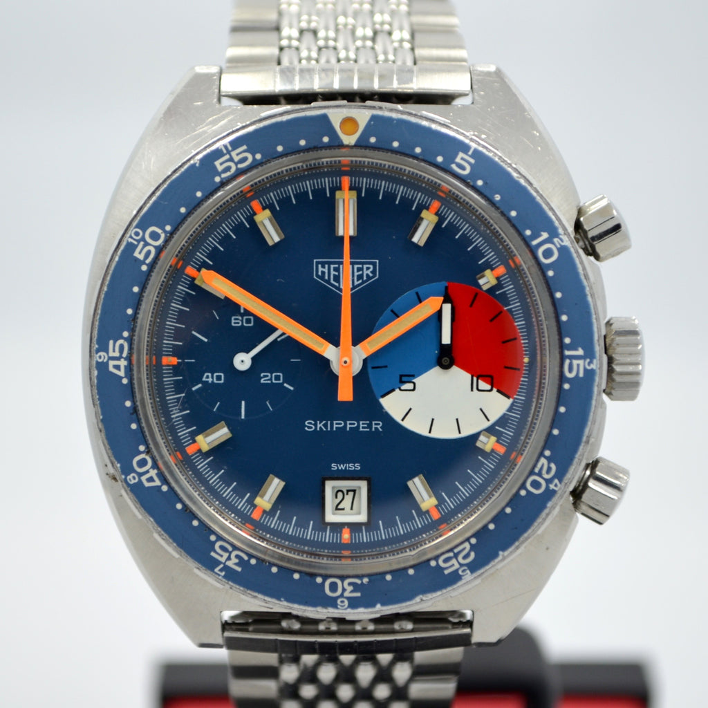 Vintage Heuer Skipper 73463 Blue Steel Chronograph Valjoux 7734 Wristwatch
