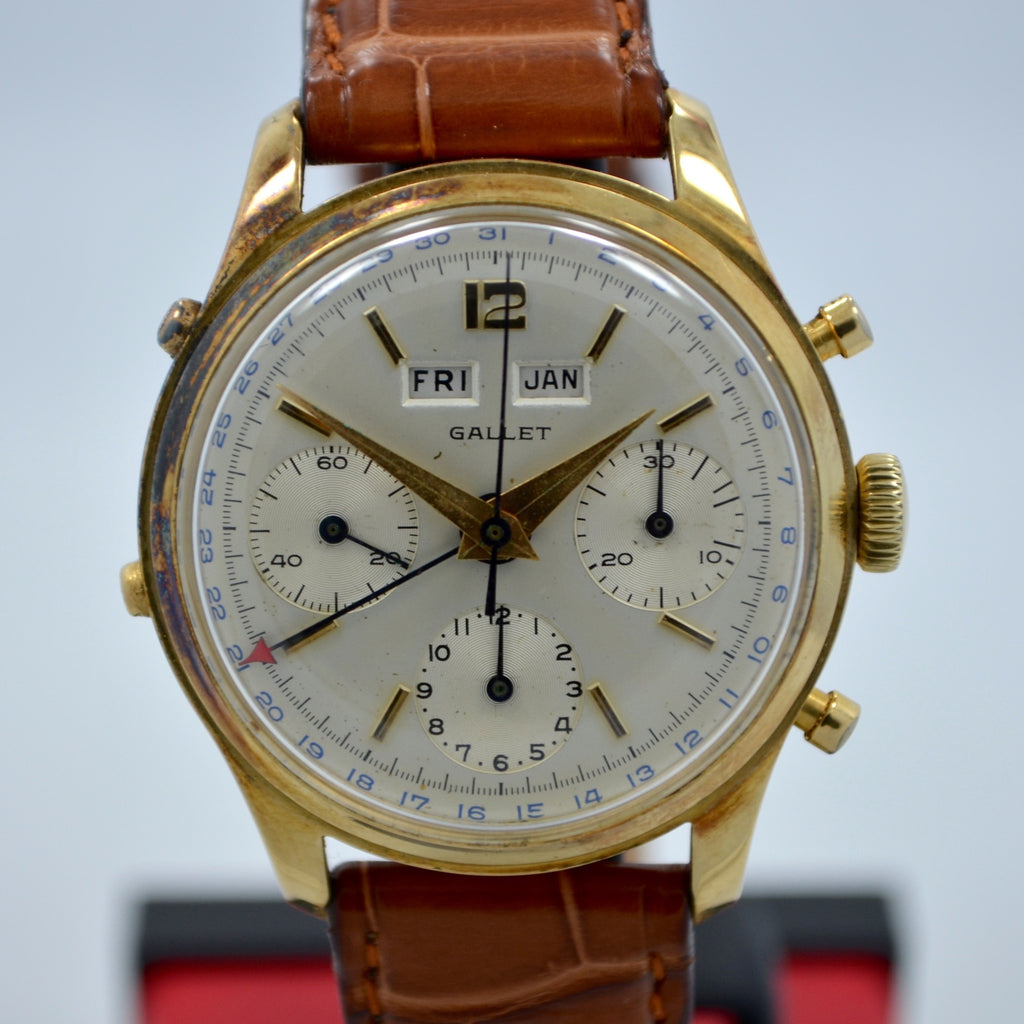 Vintage Gallet Solid 14K Yellow Gold Chronograph Triple Date Valjoux 72C Watch