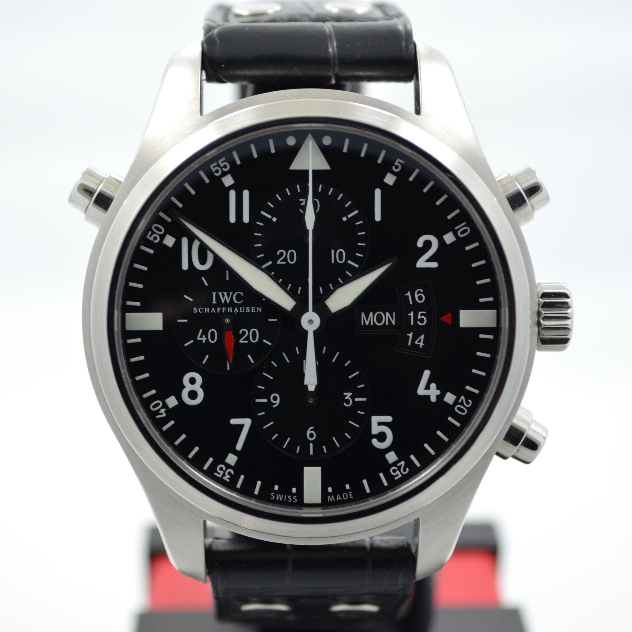 IWC Pilots Double Chronograph IW377801 Stainless Steel Black Dial 46mm Watch - Hashtag Watch Company