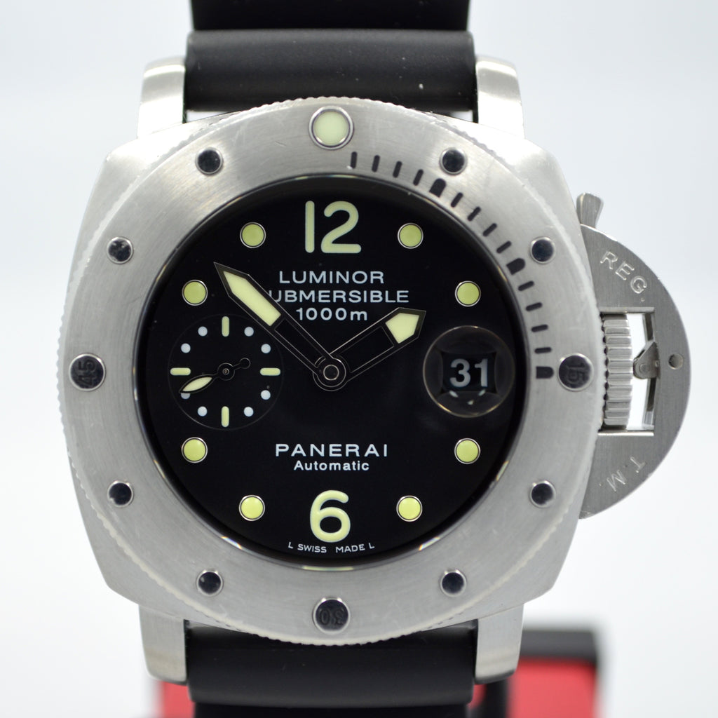 "Panerai Luminor Submersible 1000 PAM 243 ""K"" Steel Auto Wristwatch Box Papers"