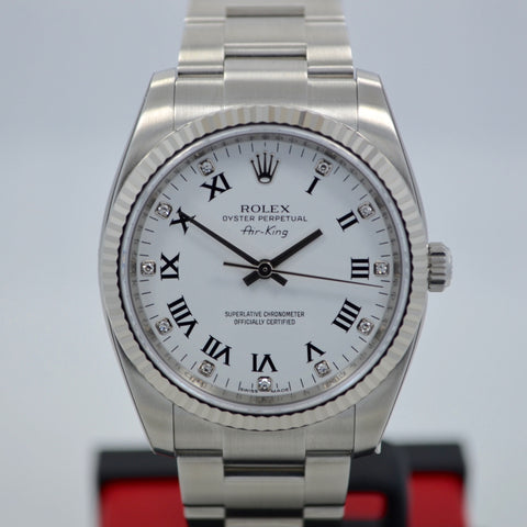 Rolex Air-King 114234 White Diamond Dial 34mm Steel Automatic Wristwatch