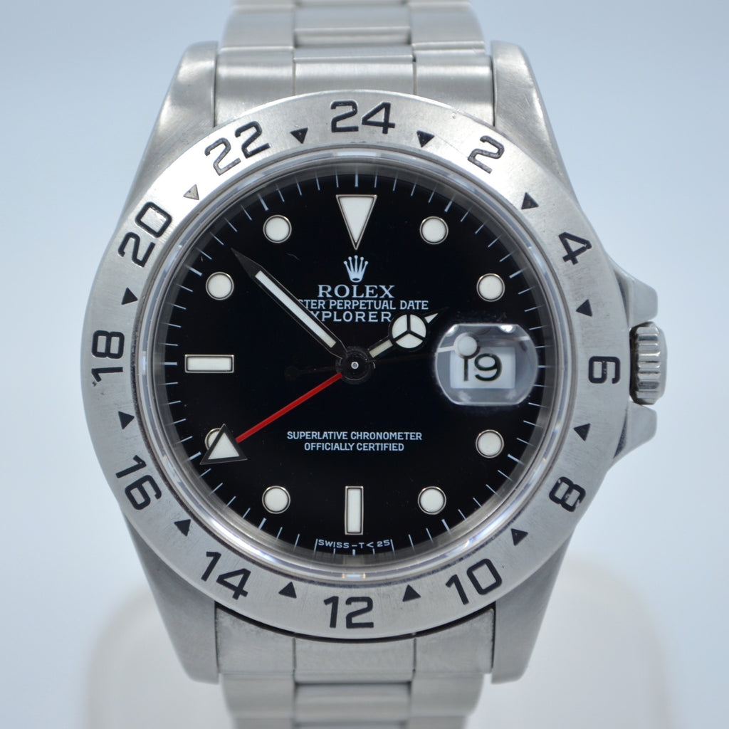 "Rolex Explorer II 16570 GMT Black Dial ""X"" Serial 1991 Automatic Steel Watch"