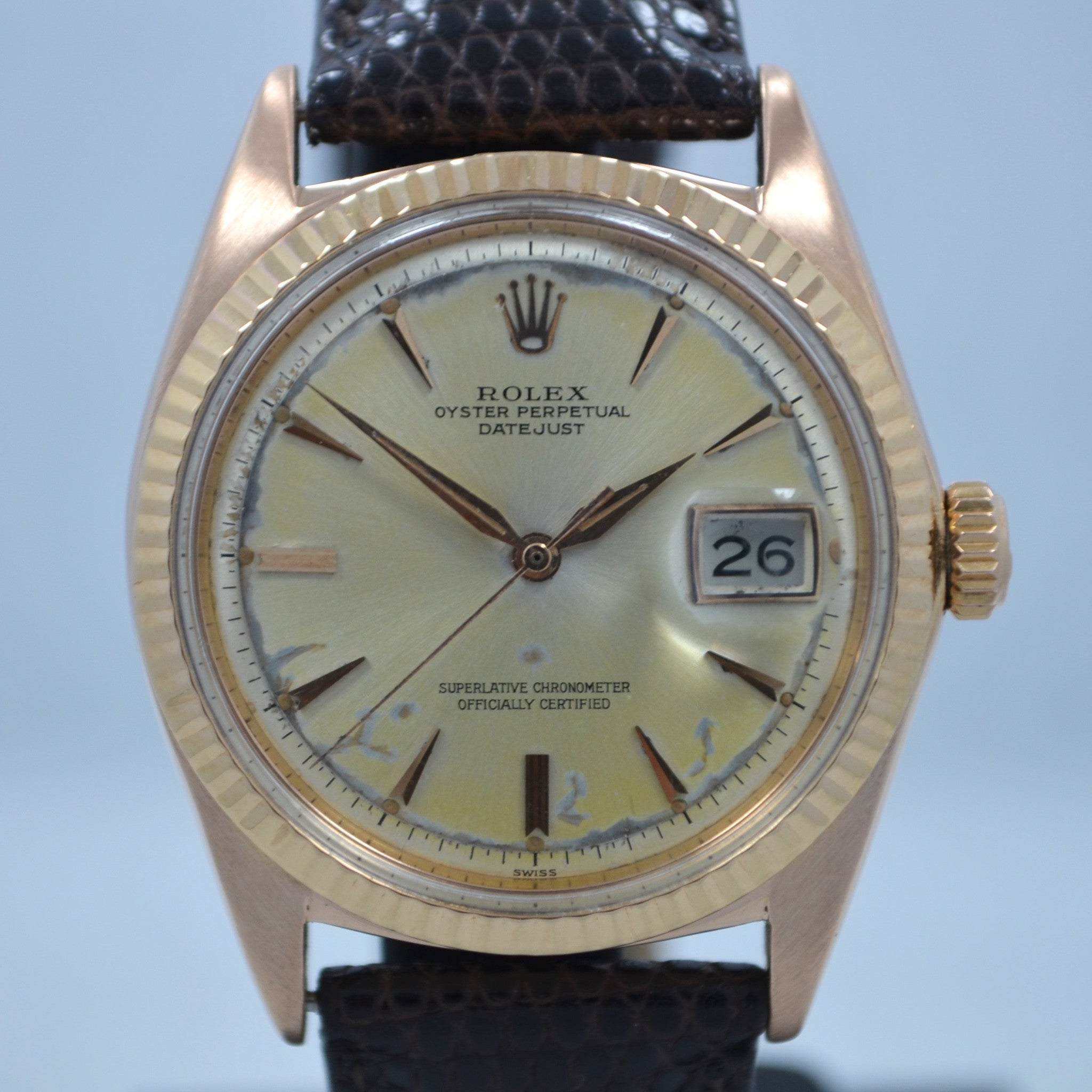 Vintage Rolex Datejust 1601 Oyster Perpetual 18K Rose Gold 1959 Wristwatch