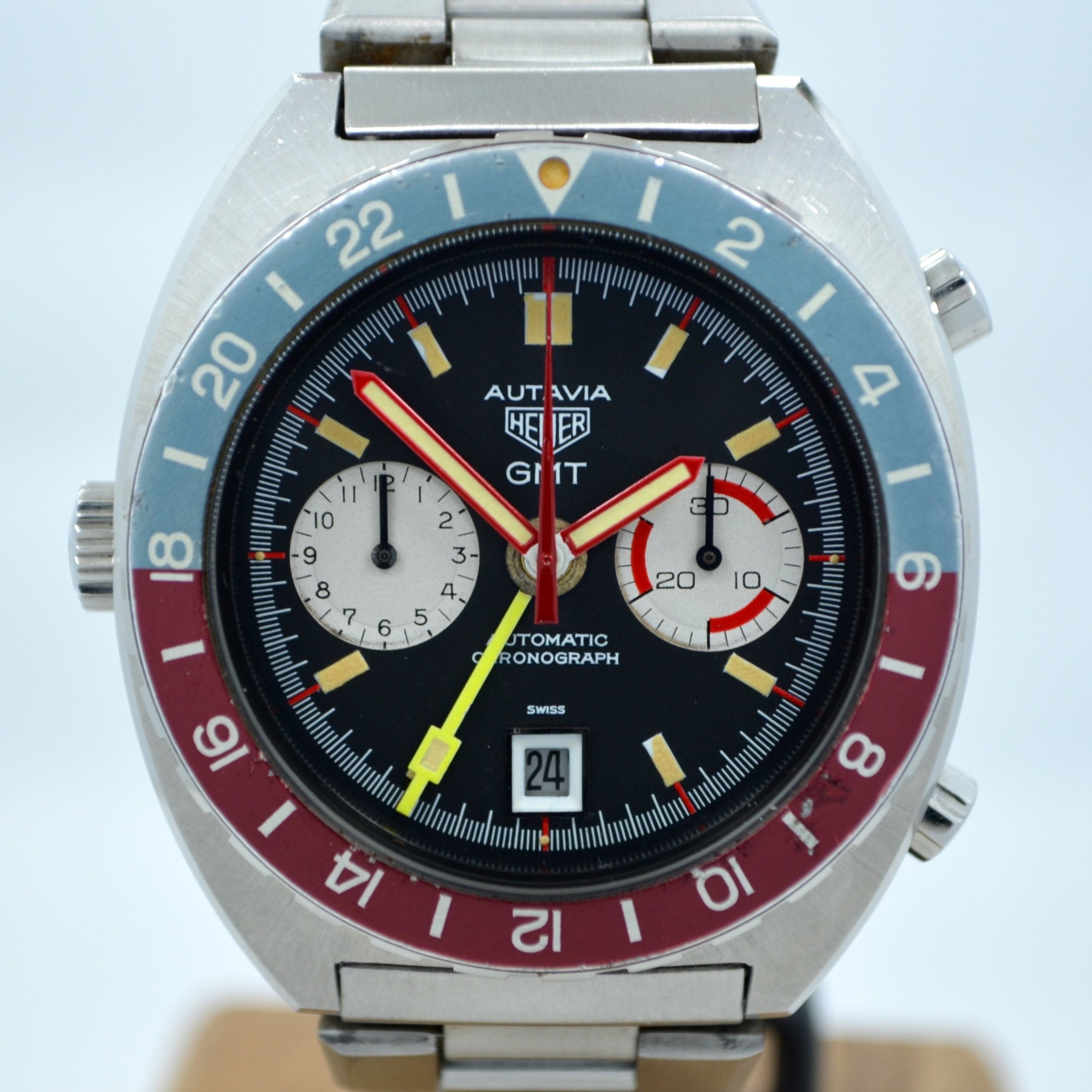 Vintage Heuer Autavia GMT 11630 Cal. 14 Automatic Steel Chronograph Wristwatch - Hashtag Watch Company