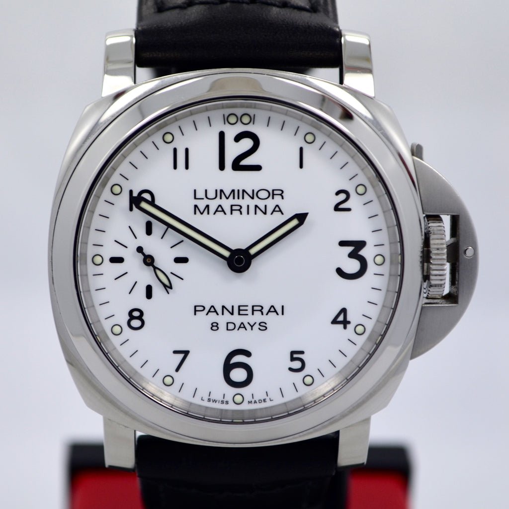 Panerai Luminor Marina PAM 00563 8 Days Acciaio Mechanical White Dial Mens Watch - Hashtag Watch Company