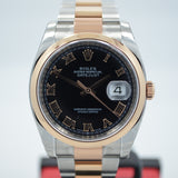 Rolex Datejust 116201 Two Tone Steel 18K Pink Gold Black Roman 36mm Automatic Watch