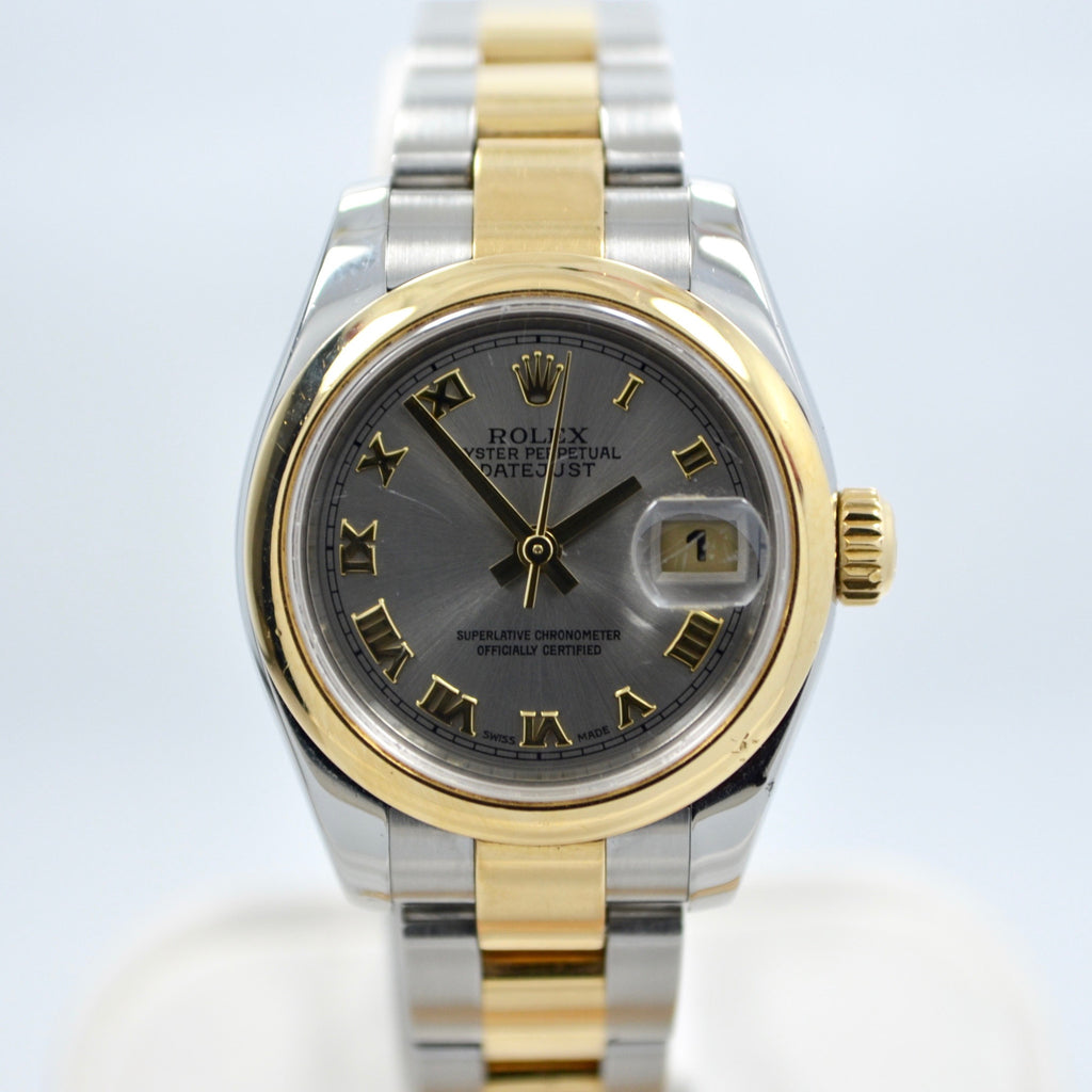 Rolex 179163 Datejust Two Tone Ladies Oyster Steel Gold Roman Wristwatch - Hashtag Watch Company
