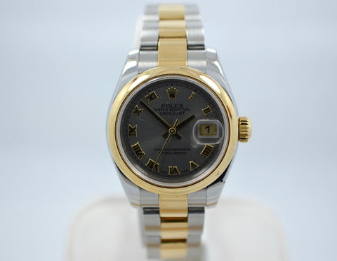 Rolex 179163 Datejust Two Tone Ladies Oyster Steel Gold Roman Wristwatch