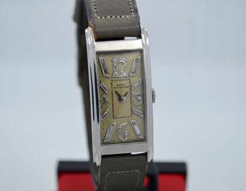 Vintage Paul Ditisheim Platinum Art Deco Diamond Dial Manual Watch