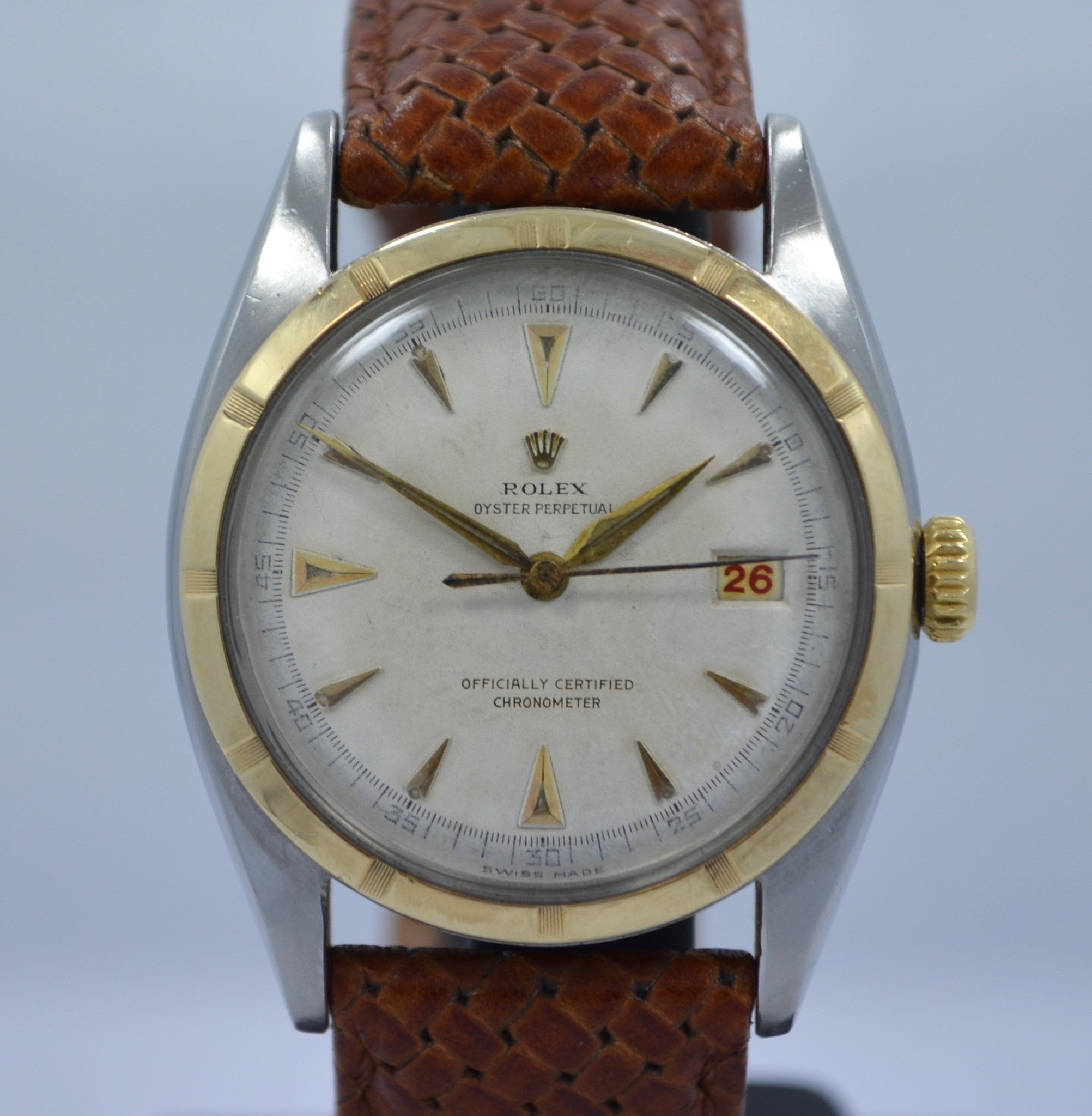 Vintage Rolex 6105 Oyster Perpetual 18K Gold Steel Red Date Automatic 1950 Watch