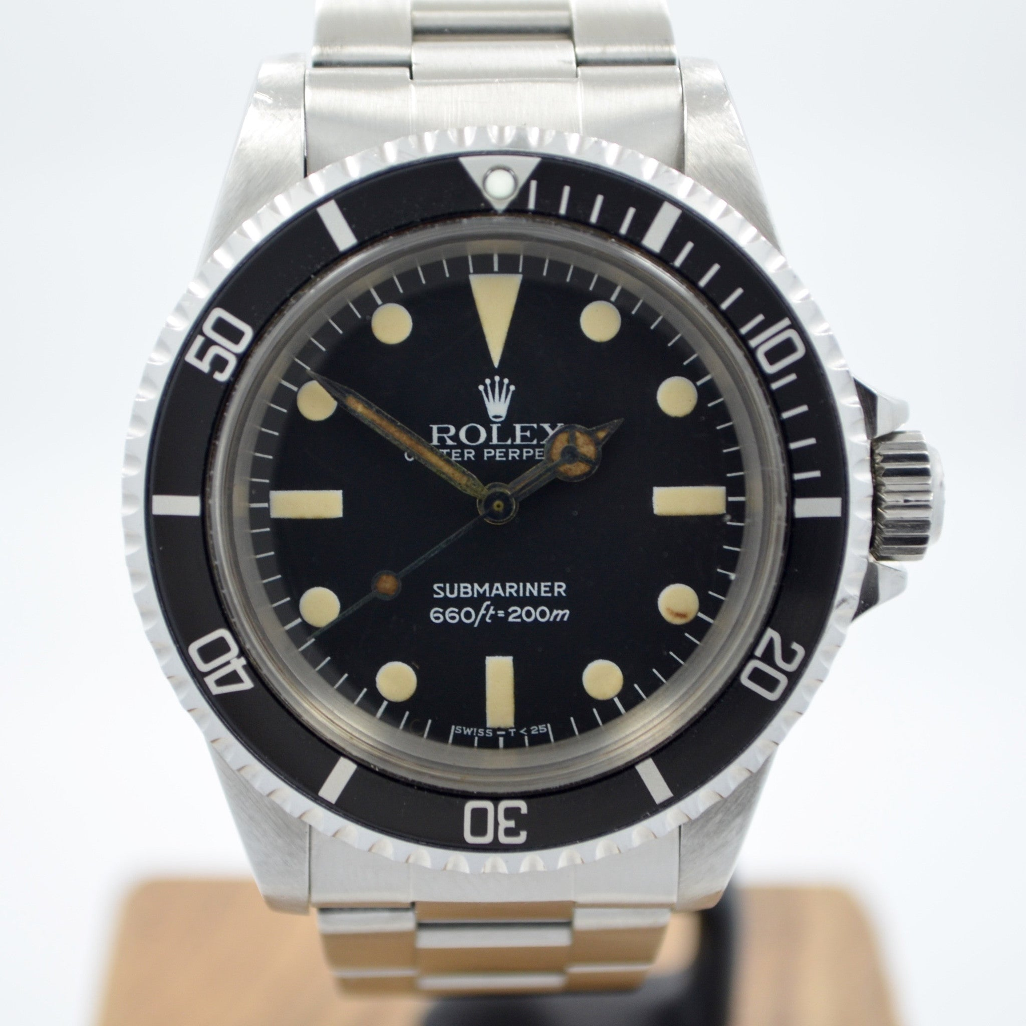 Vintage Rolex 5513 Submariner Stainless Steel 7.2 Mil Wristwatch 1981 Box Papers