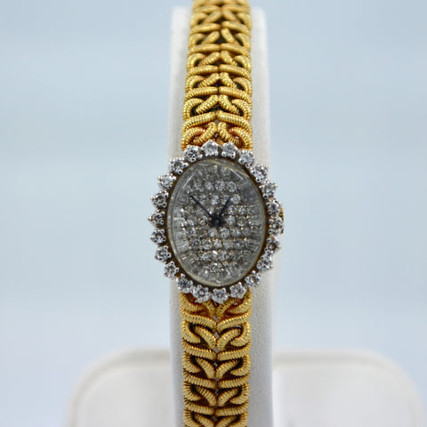 Jules Jurgensen 14K Yellow Gold Solid Ladies Quartz Diamond Wristwatch