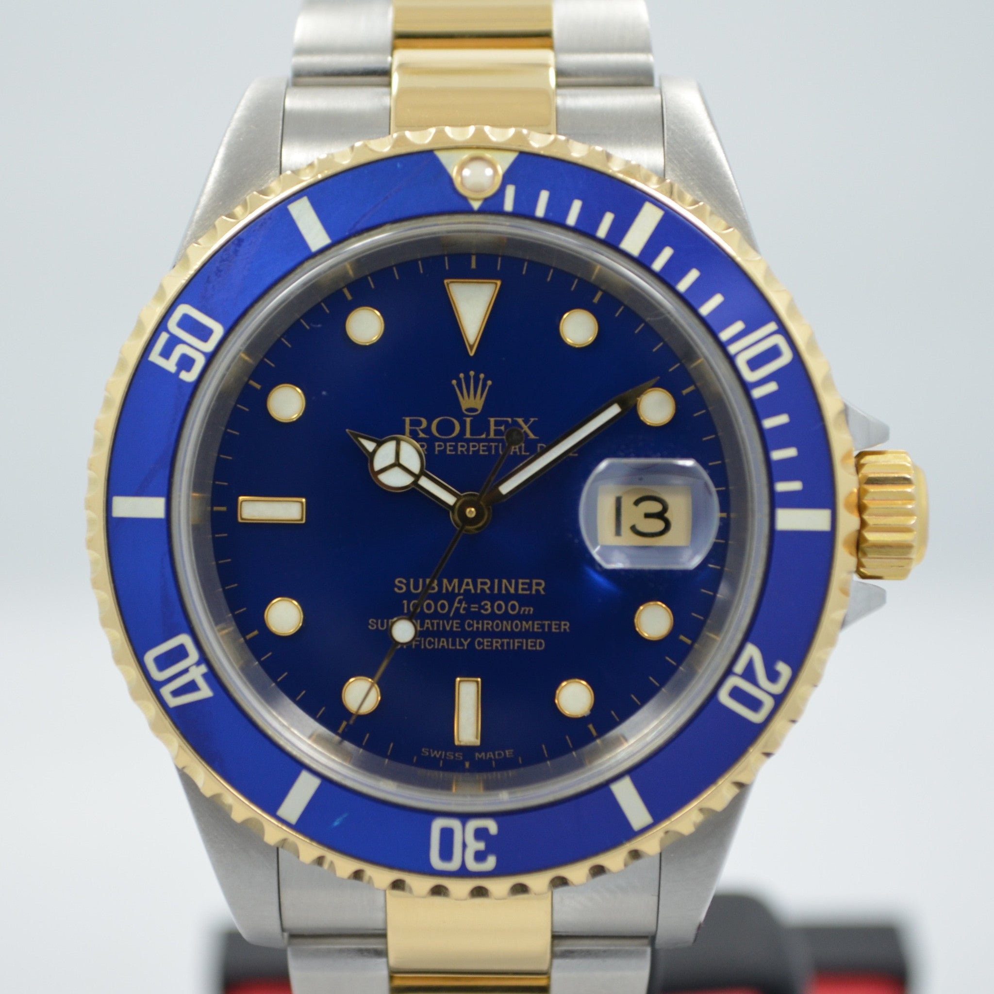 "Rolex Submariner 16613 Steel 18K Gold Blue ""Y"" Serial 2002 Box Papers Watch - Hashtag Watch Company"