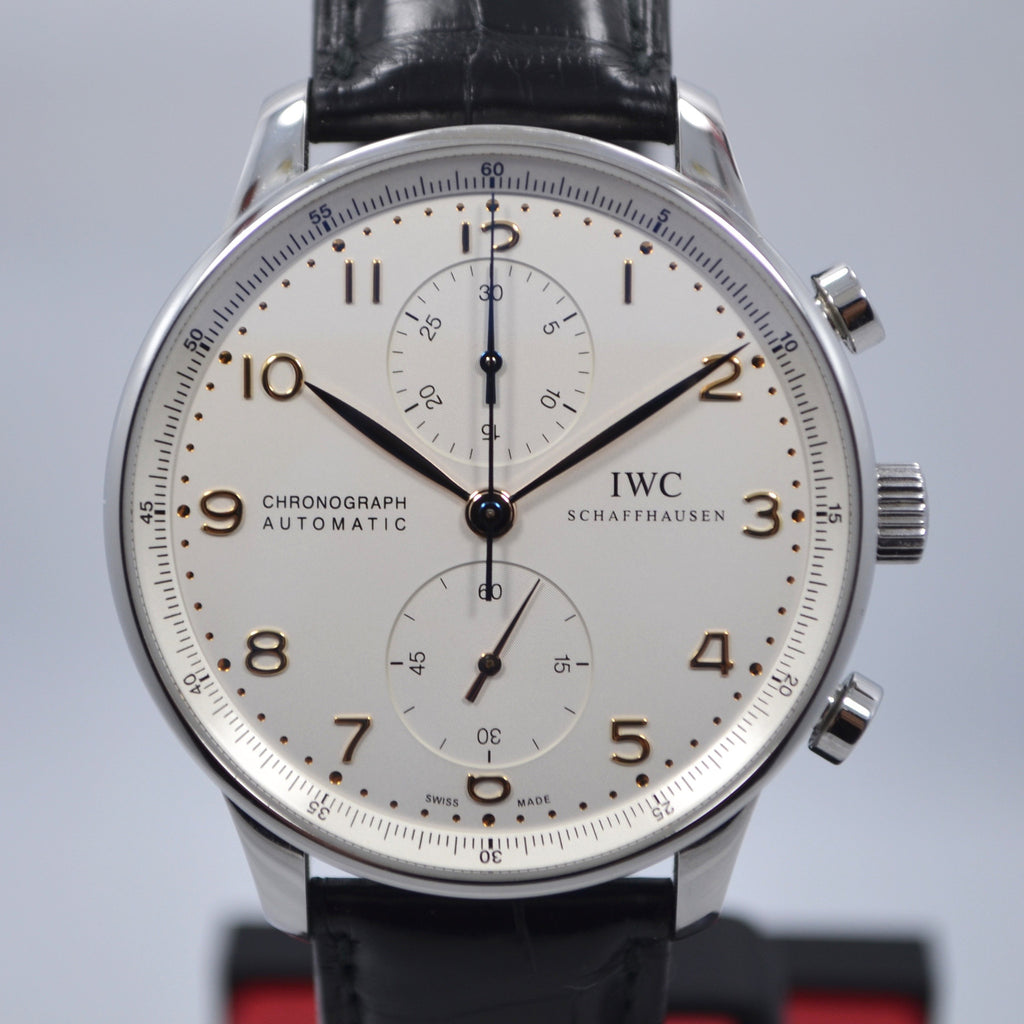 IWC Portuguese IW371401 Steel Chronograph Leather Automatic Wristwatch