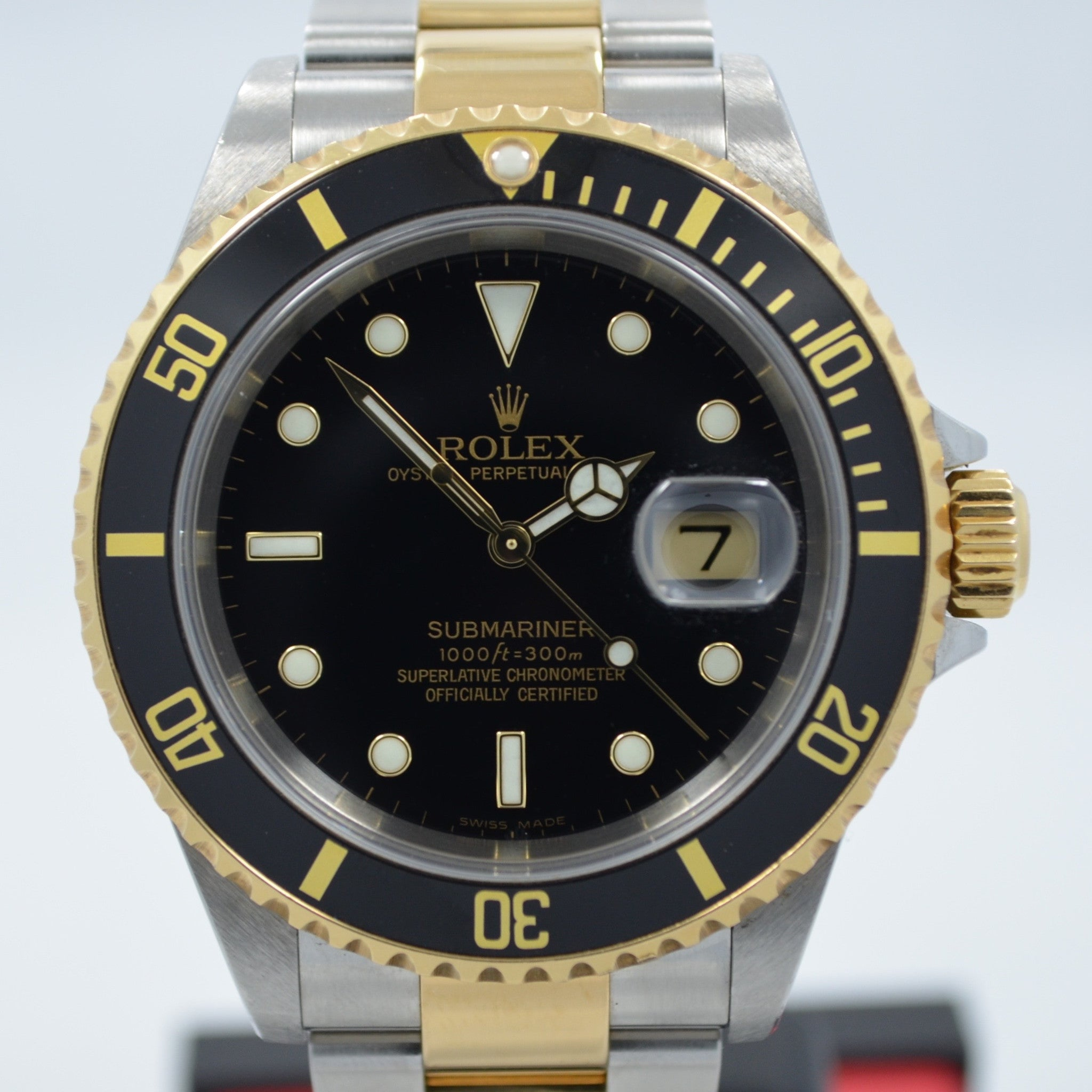 "Rolex Submariner 16613 Steel 18K Gold Black ""D"" Serial 2005 Box Papers Watch - Hashtag Watch Company"
