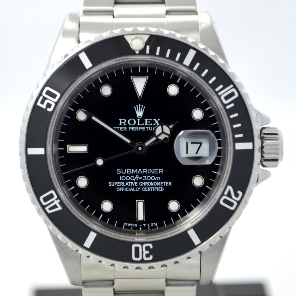 "Rolex Submariner 16610 Stainless Steel ""X"" Serial 1991 Wristwatch Box and Papers"