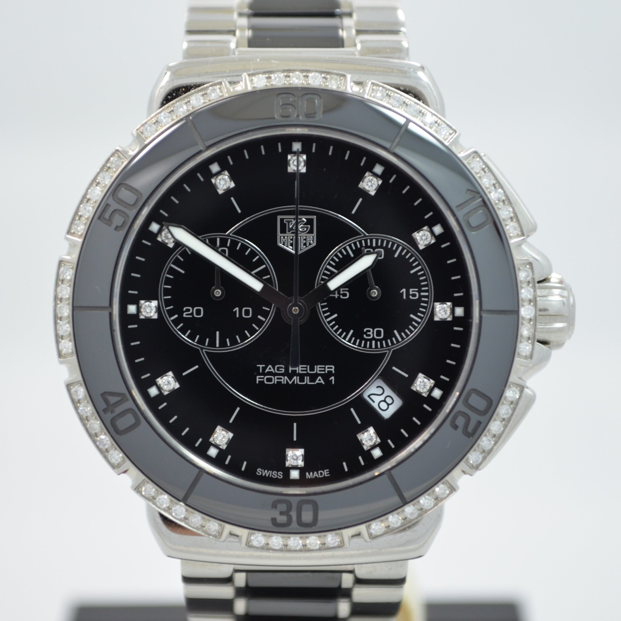 TAG Heuer Formula One CAH1212 Steel Ceramic Diamond Quartz Chronograph Wristwatch - Hashtag Watch Company