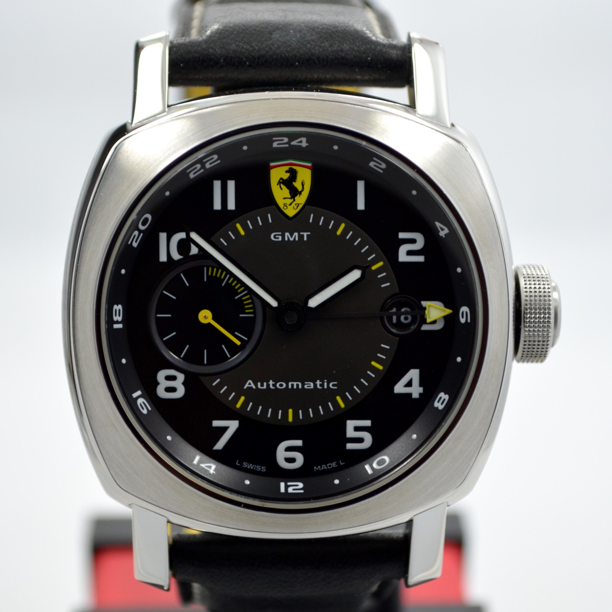Panerai Ferrari Scuderia GMT Stainless Steel F6655 Automatic Watch Box Papers - Hashtag Watch Company