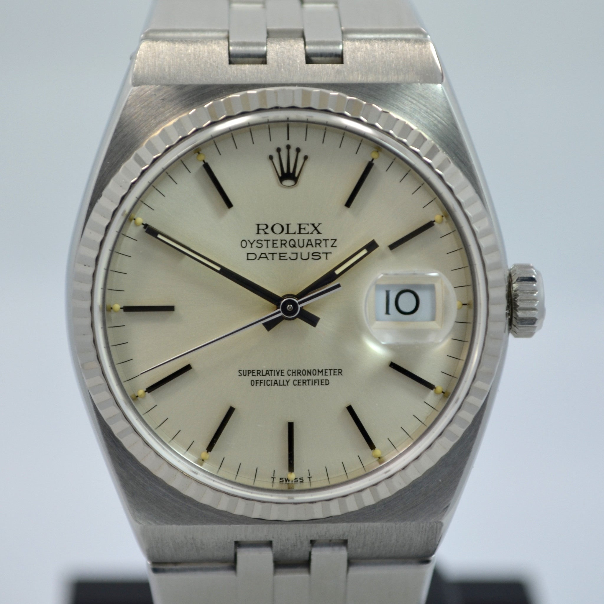 "Vintage Rolex Oysterquartz 17014 Datejust Steel 18K Wristwatch 1985 Box Papers ""New Old Stock!"" - Hashtag Watch Company"