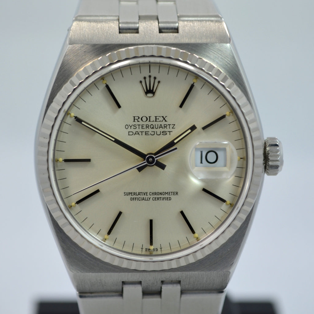 "Vintage Rolex Oysterquartz 17014 Datejust Steel 18K Wristwatch 1985 Box Papers ""New Old Stock!"""