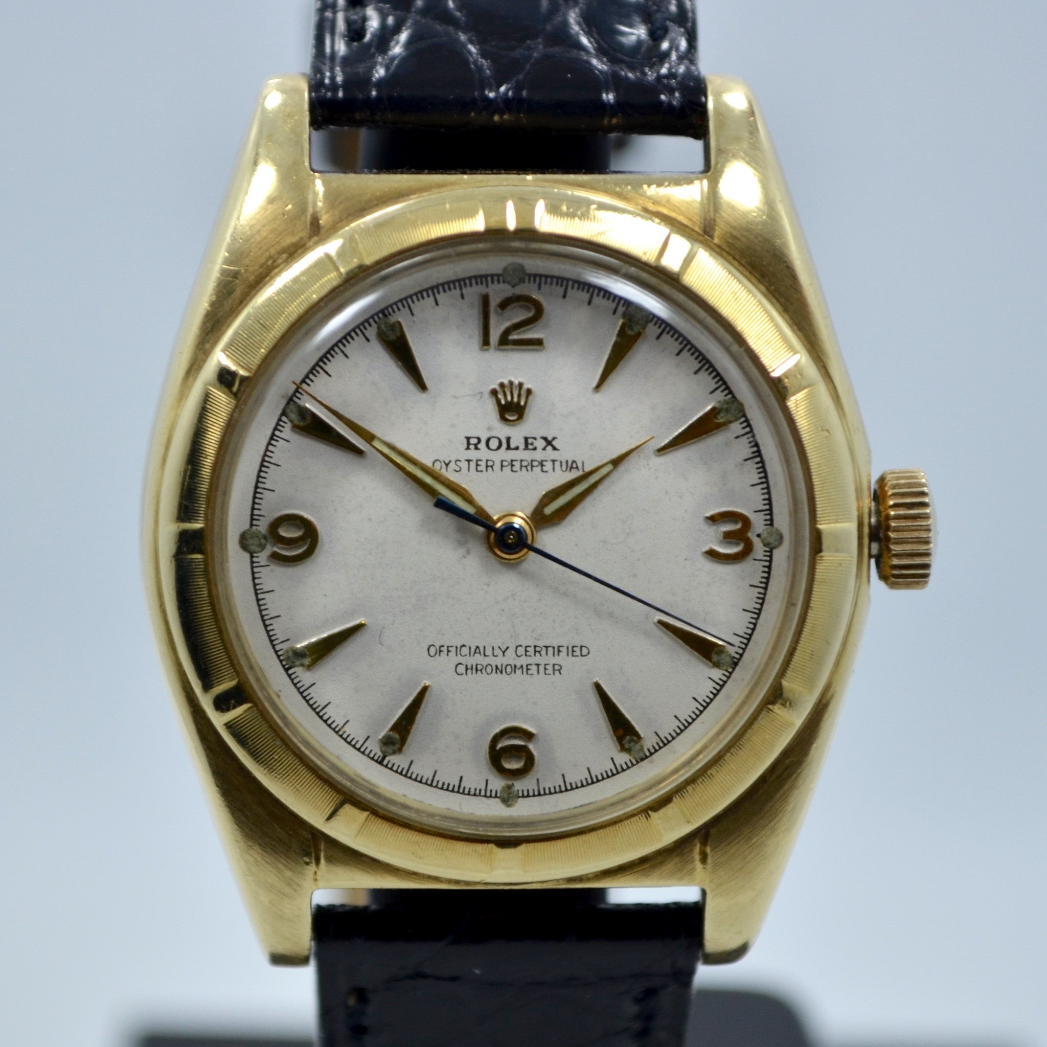 Vintage Rolex Bubbleback 6011 14K Solid Yellow Gold Steel Automatic Watch - Hashtag Watch Company