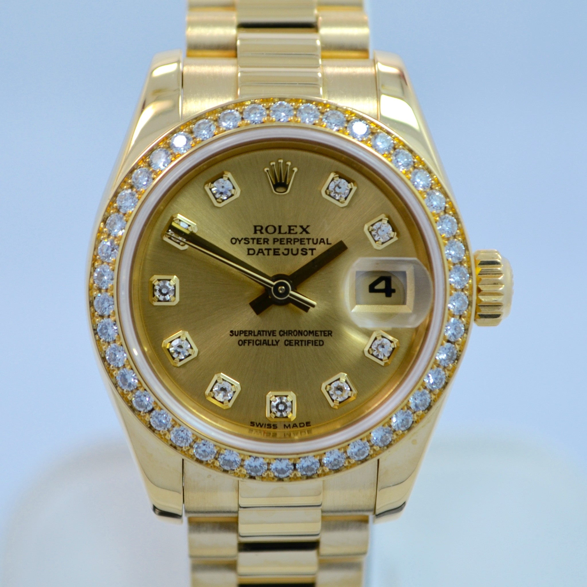 "Rolex Ladies President 179138 Datejust 18K Yellow Gold Diamond ""K"" Serial Champagne Box Papers - Hashtag Watch Company"