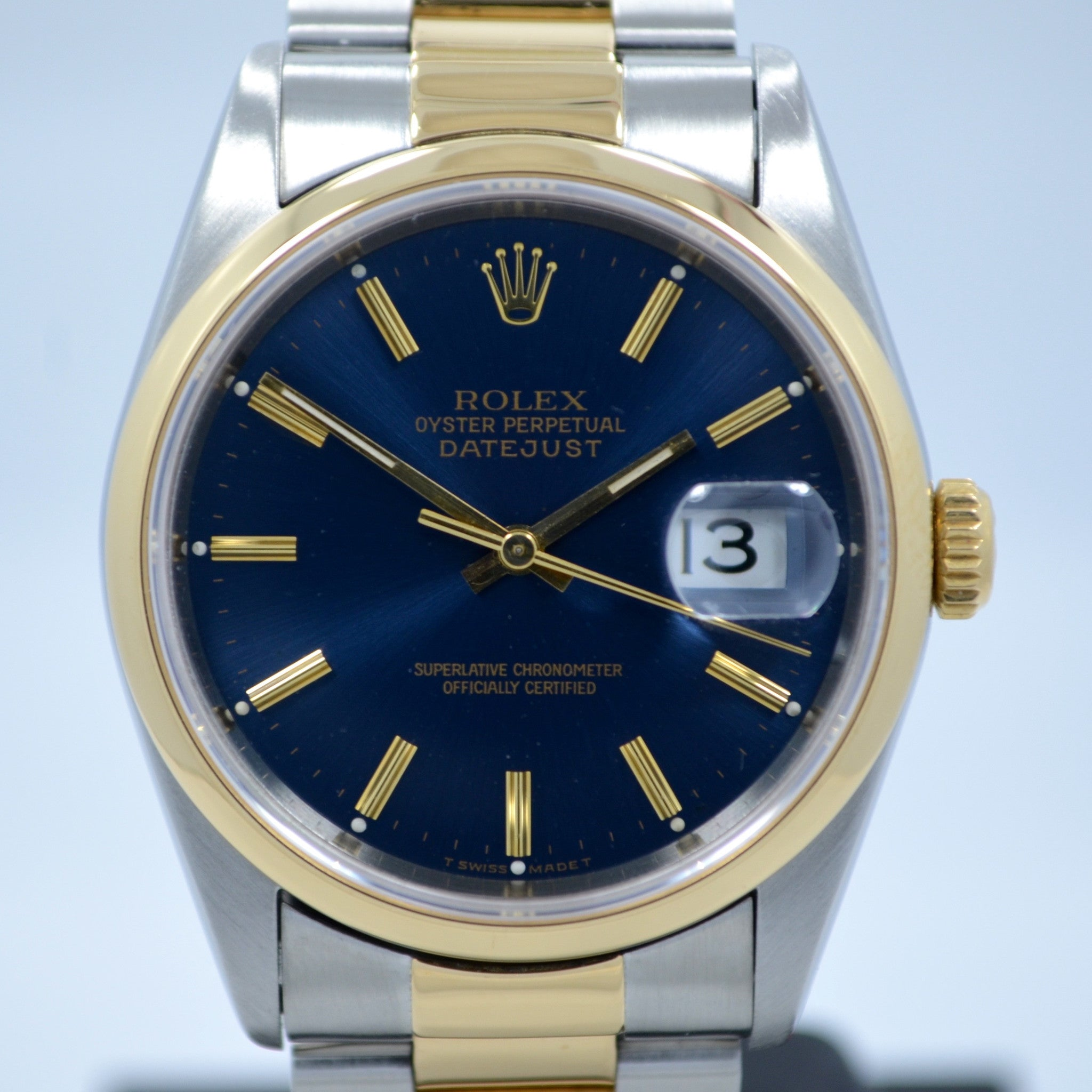 "Rolex Datejust 16203 Two Tone Stainless Steel 18K Yellow Gold ""S"" Serial Circa 1993 Blue Wristwatch"