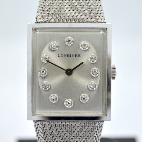 Vintage Longines 14K White Gold Diamond Stainless Steel Cal. L 847.4 Wristwatch