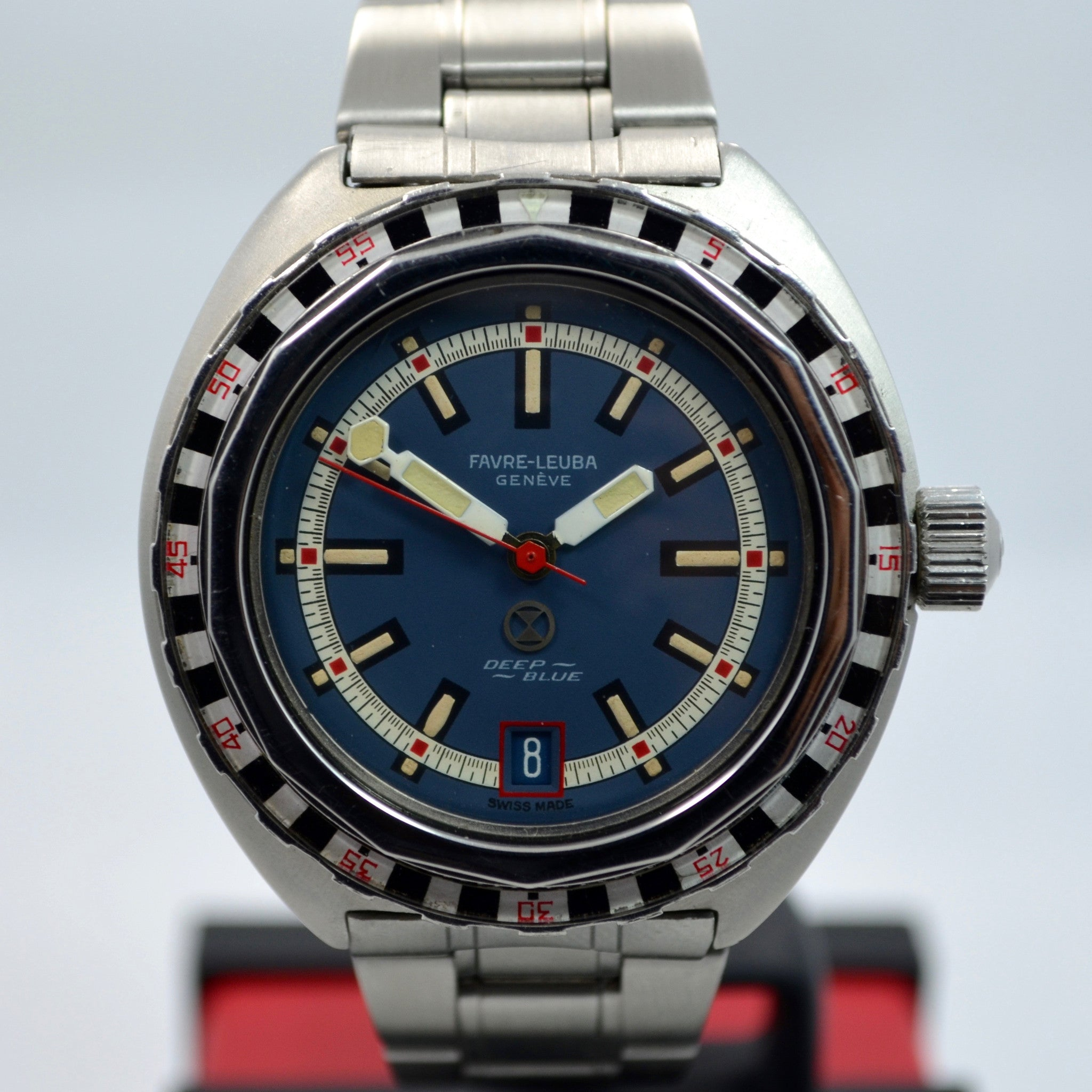 Vintage Favre Leuba Deep Blue 59863 Roulette Stainless Steel Divers Wristwatch - Hashtag Watch Company