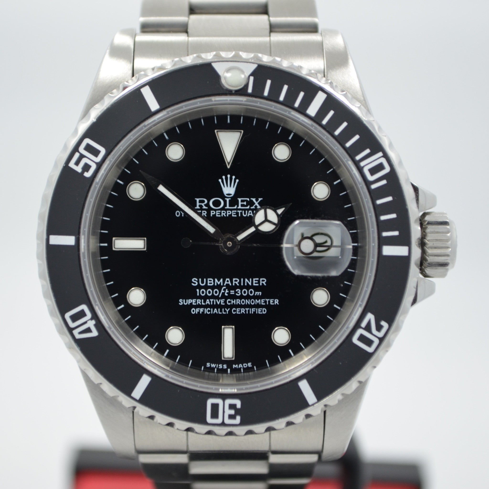 "Rolex Submariner 16610 Stainless Steel ""L"" Serial 1989 Automatic Wristwatch"