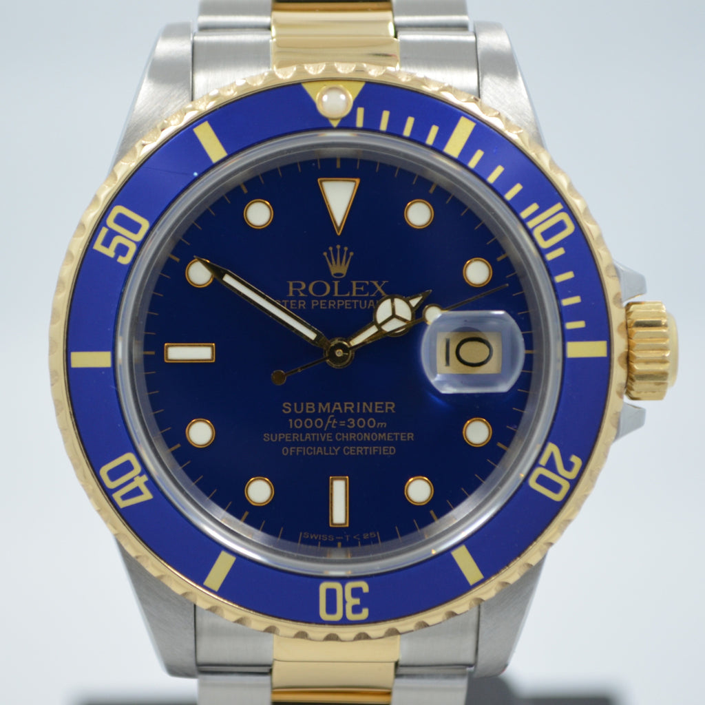Vintage Rolex Submariner 16803 Two Tone Blue Steel 18K Gold Wristwatch Circa 1984