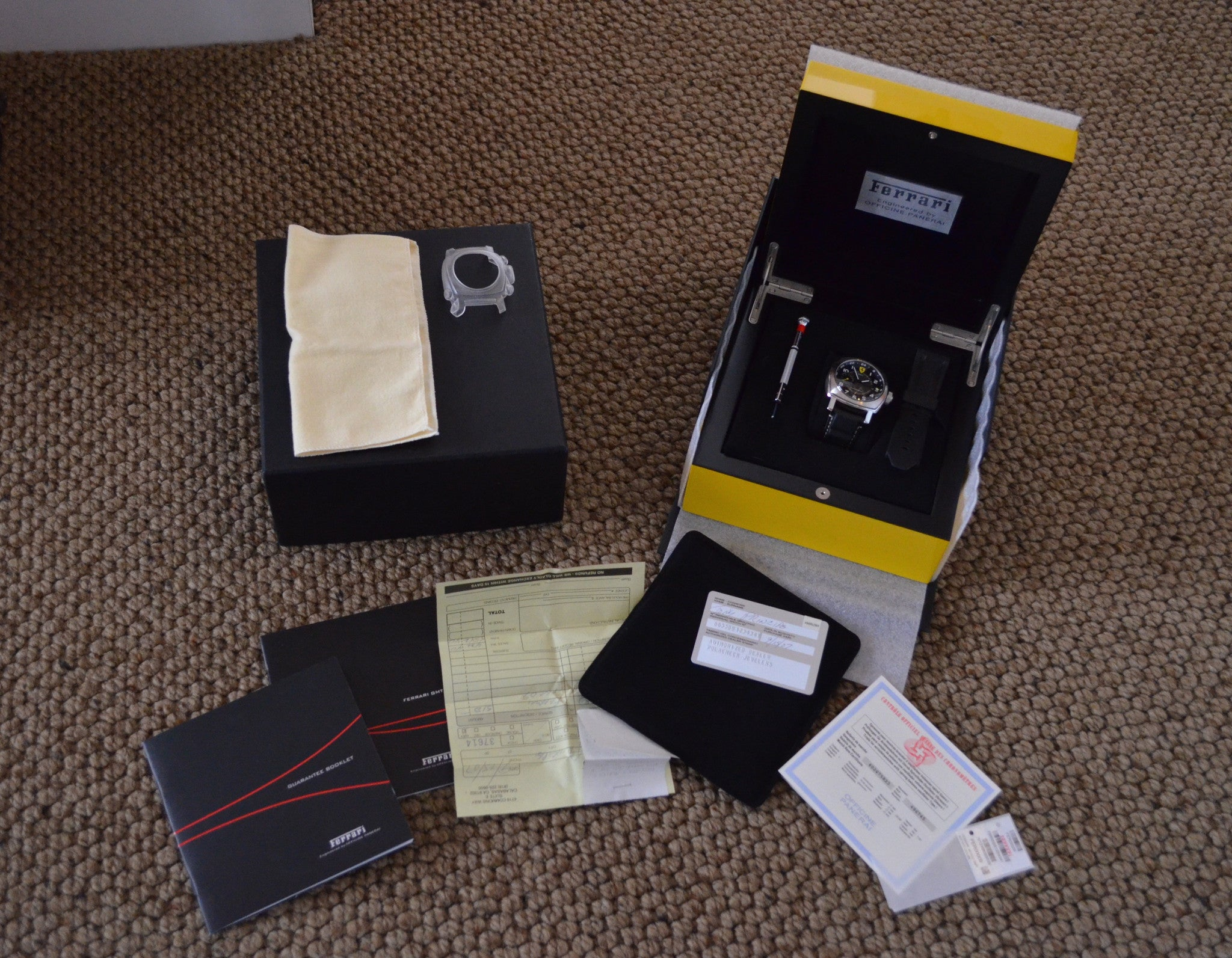 Panerai Ferrari Scuderia GMT Stainless Steel F6655 Automatic Watch Box Papers