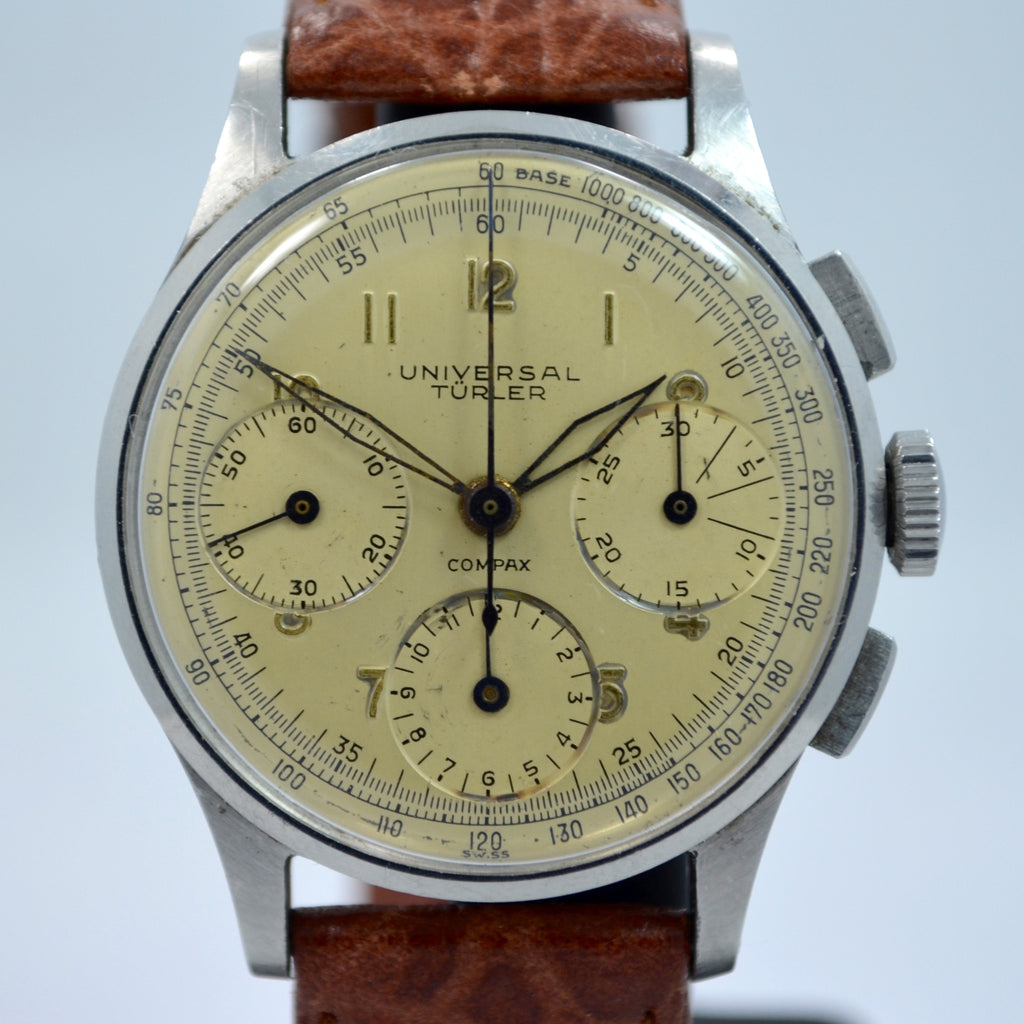 Vintage Universal Geneve Compax Türler Signed Steel Chronograph Cal. 285 Wristwatch 1950's