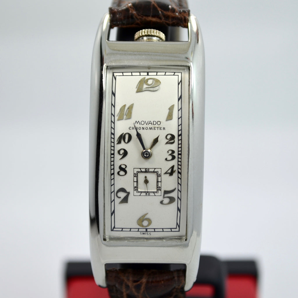 Vintage Movado Polyplan 18K White Gold Large Size Enamel Rectangular Wristwatch