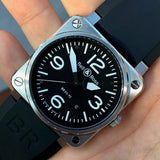 Bell & Ross BR03-92 Stainless Steel Black Automatic Mens Wristwatch