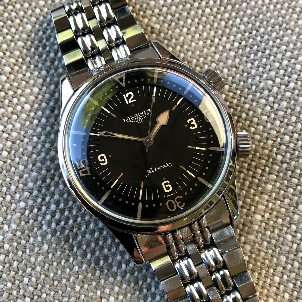 Vintage Longines Super Compressor 7042 Stainless Steel Automatic Black Gilt Wristwatch 1960