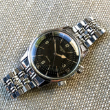 Vintage Longines Super Compressor 7042 Stainless Steel Automatic Black Gilt Wristwatch 1960's