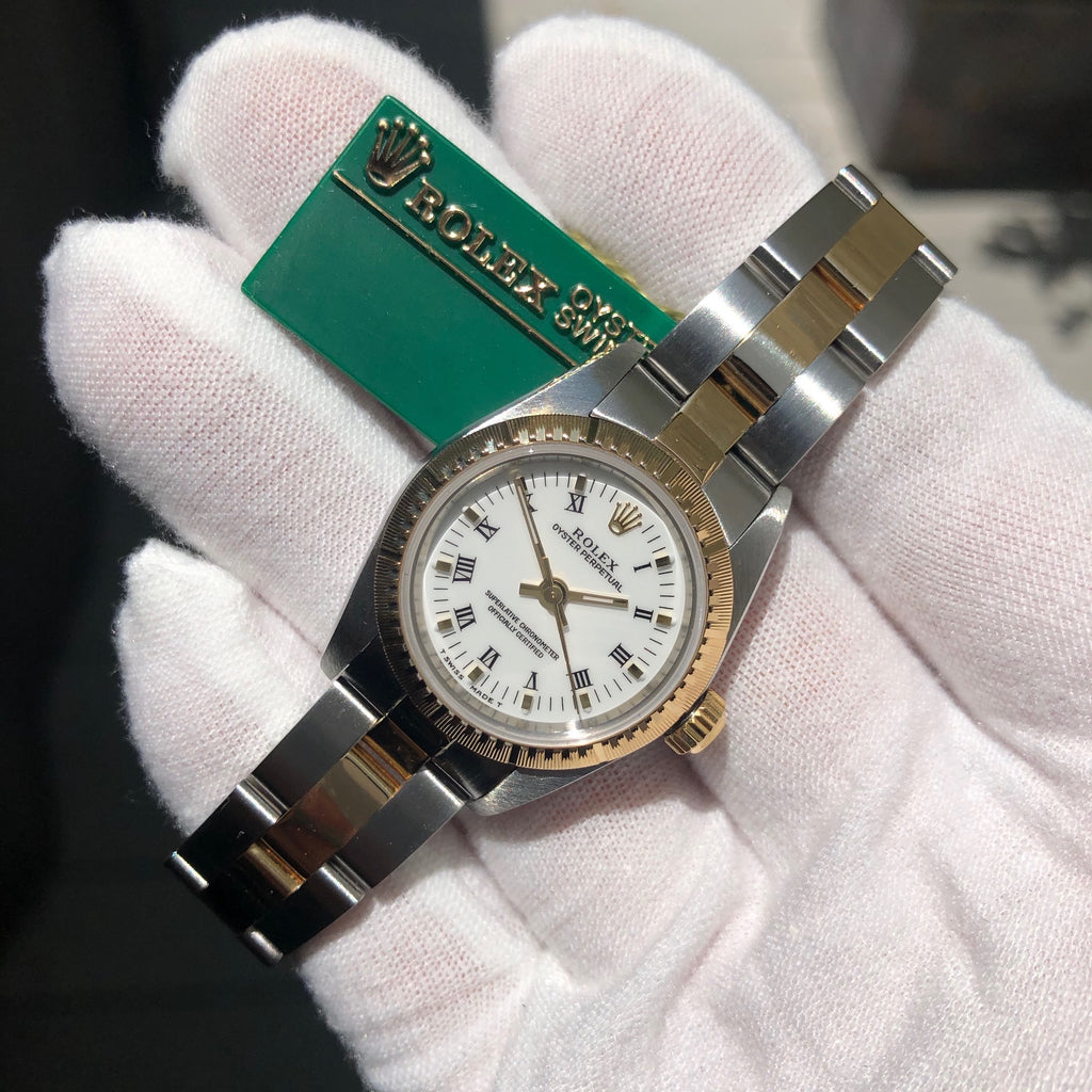 Rolex Oyster Perpetual 76243 Ladies White Roman Two Tone Steel Gold Wristwatch Box Papers