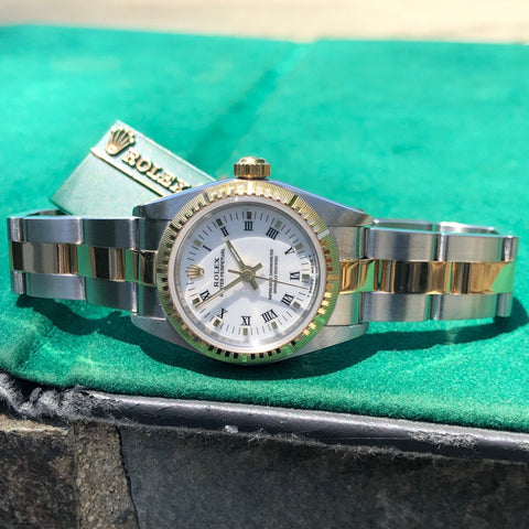 1999 Rolex Oyster Perpetual 76243 Ladies White Roman Two Tone Steel Gold Wristwatch Box Papers