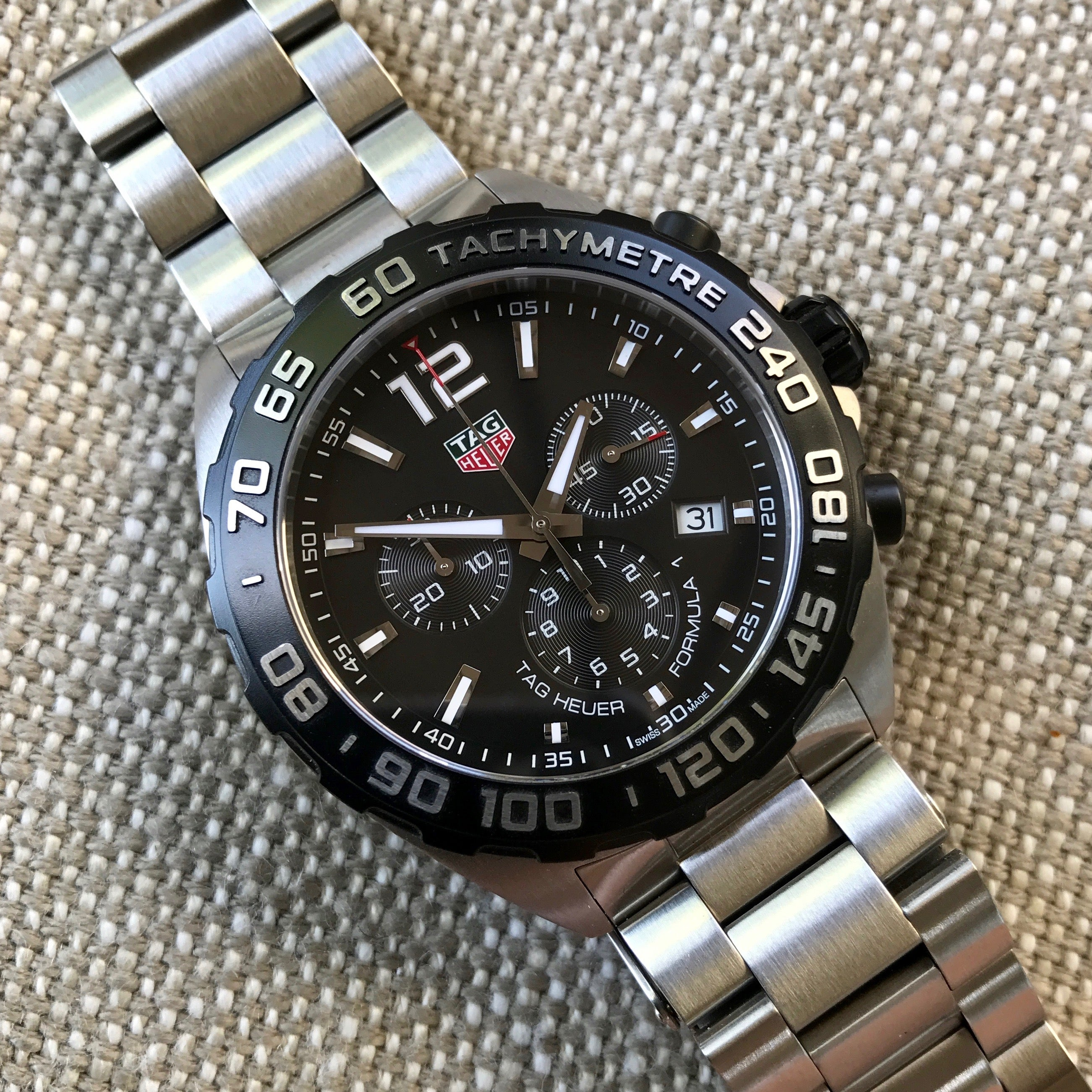 TAG Heuer Formula 1 CAZ1010 Chronograph Stainless Steel Quartz 44mm Wristwatch Box Papers