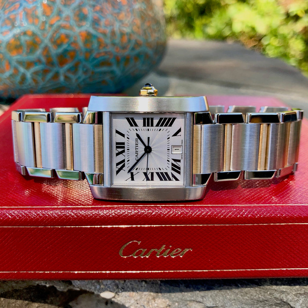Cartier Tank Francaise W51005Q4 Two Tone Steel Gold Automatic Wristwatch Box & Papers